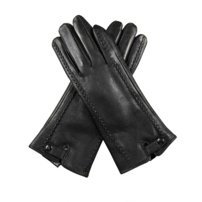Black Genuine Leather Winter Gloves-Boots N Bags Heaven