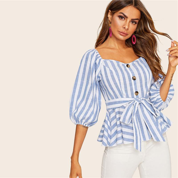 Penelope - Blue and White Stripes Puffed Sleeves Blouse-Boots N Bags Heaven