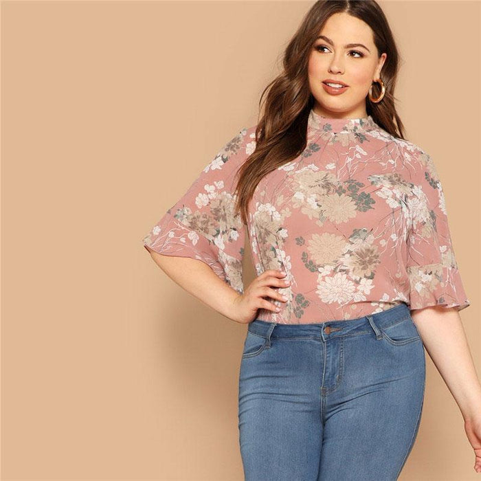 Mazy - Plus Size Elegant Floral Blouse With Butterfly Sleeves-Boots N Bags Heaven