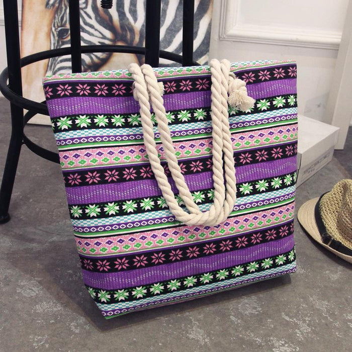 Bohemian Canvas Beach Bag-Boots N Bags Heaven