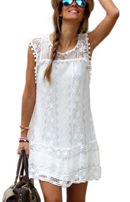 Daisy™ - White Short Summer Beach Dress-Boots N Bags Heaven