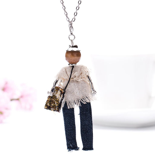 Bohemian Fashionista Beaded Doll Necklace - Bohemian Fashionista Beaded Doll Necklace