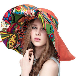 Bohemian Summer Hat Large Retro And Colorful Summer Hat - Large Retro And Colorful Reversible Summer Beach Hat