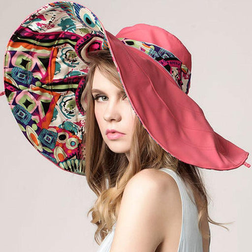 Large Retro and Colorful Reversible Summer Beach Hat-Boots N Bags Heaven