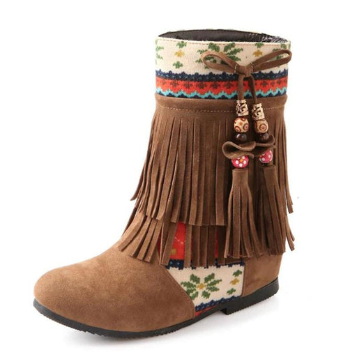 Boots Cute And Fun Winter Fringe Ankle High Boots - Cute And Fun Winter Fringe Ankle High Boots