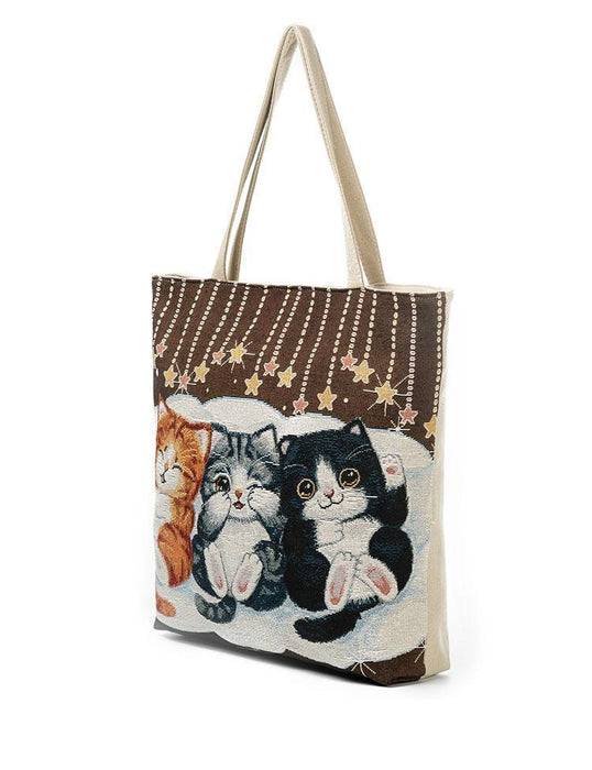 Cute Cats Embroidery Handbag-Boots N Bags Heaven