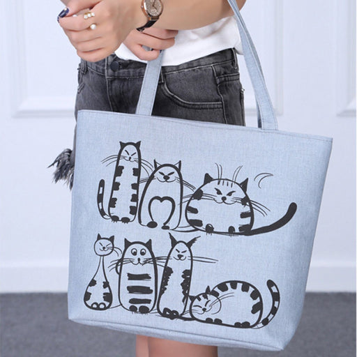 Cat Printed Canvass Bag-Boots N Bags Heaven