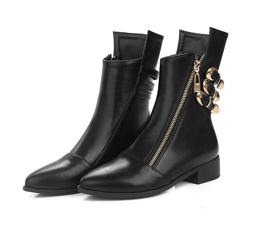 Low Heels Zipper Leather Boots-Boots N Bags Heaven