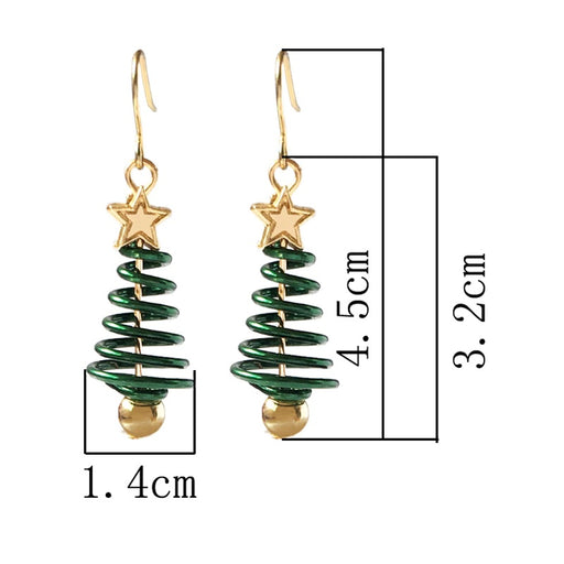 Christmas Swirling Christmas Tree Long Drop Earring - Swirling Christmas Tree Long Drop Earring
