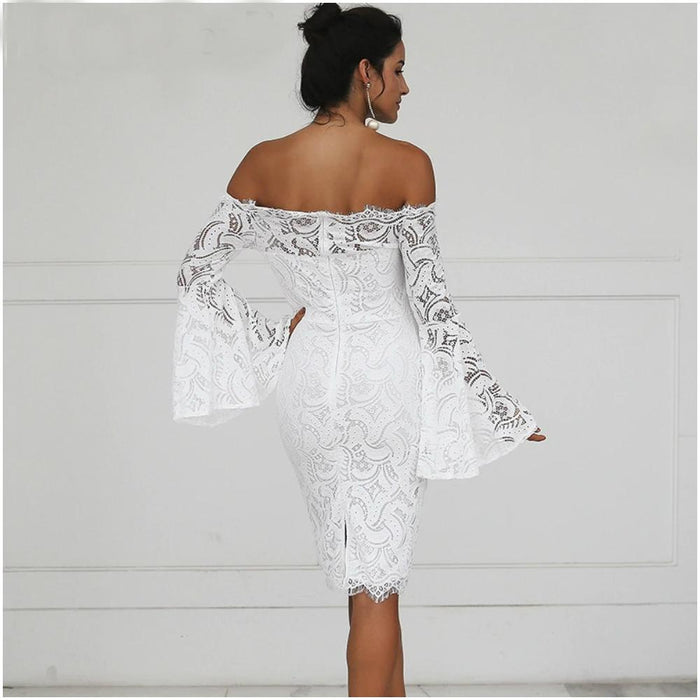 Cindy - Lace Off the Shoulder Umbrella Sleeves Dress-Boots N Bags Heaven