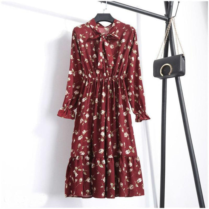 Lynne - Classic Long Sleeved Polka Dot Dress-Boots N Bags Heaven