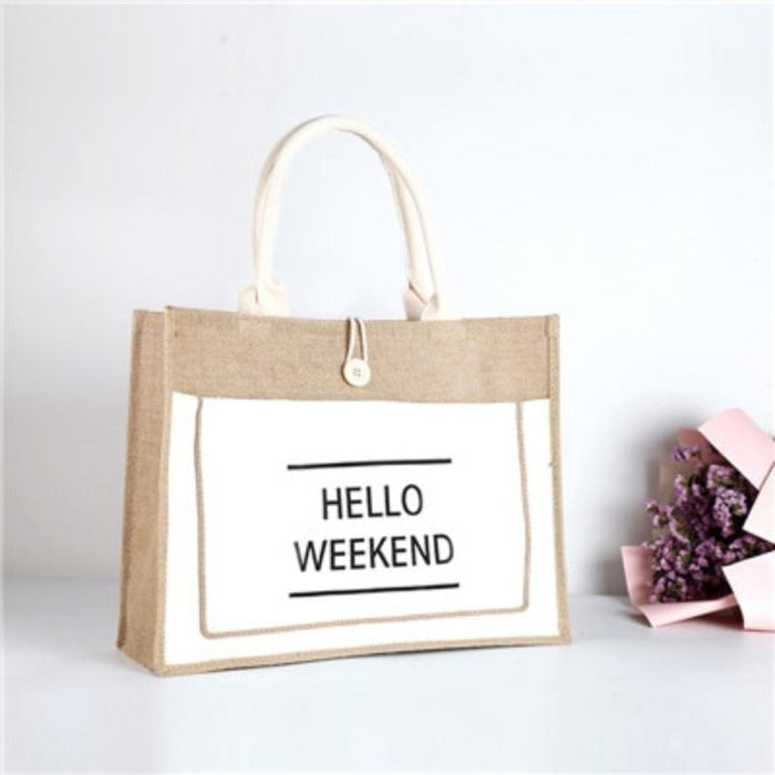 "Classic Tote Beach Bag - Classic ""Hello Weekend"" Tote Beach Bag"