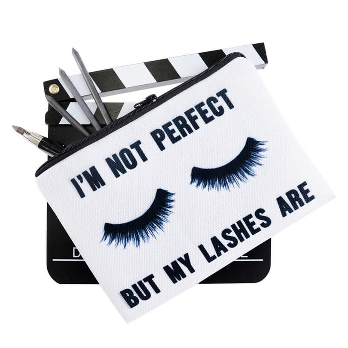 Im Not Perfect But My Lashes Are Full-Print cute MakeUp Bag With Sayings-Boots N Bags Heaven
