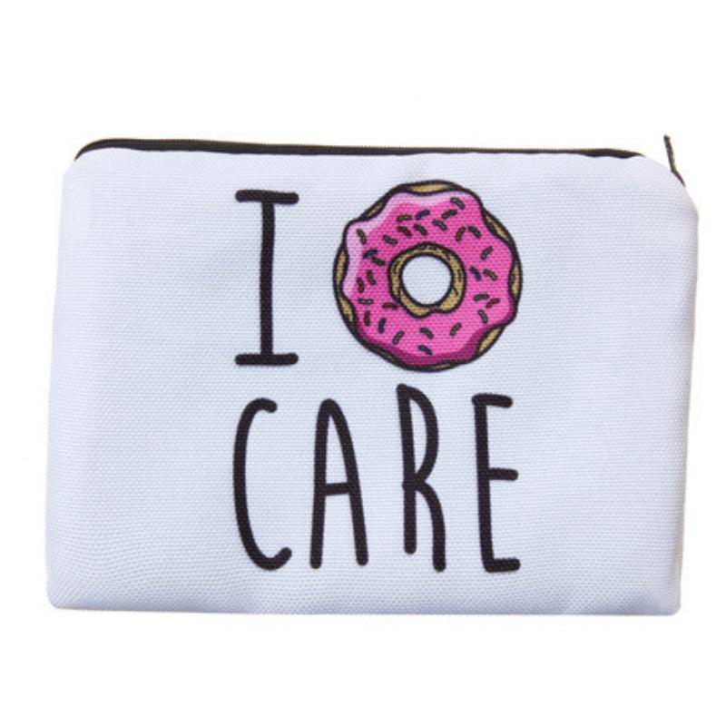 I Donut Care Full-Print cute MakeUp Bag With Sayings-Boots N Bags Heaven