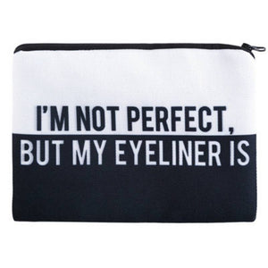 Cosmetic Bags PERFECT Full-Print Cute MakeUp Bag - I'm Not Perfect But My Eyeliner Is Full-Print Cute MakeUp Bag With Sayings