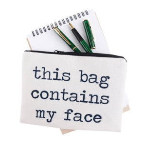 Cosmetic Bags PERFECT Full-Print Cute MakeUp Bag - This Bag Contains My Face Full-Print Cute MakeUp Bag With Sayings
