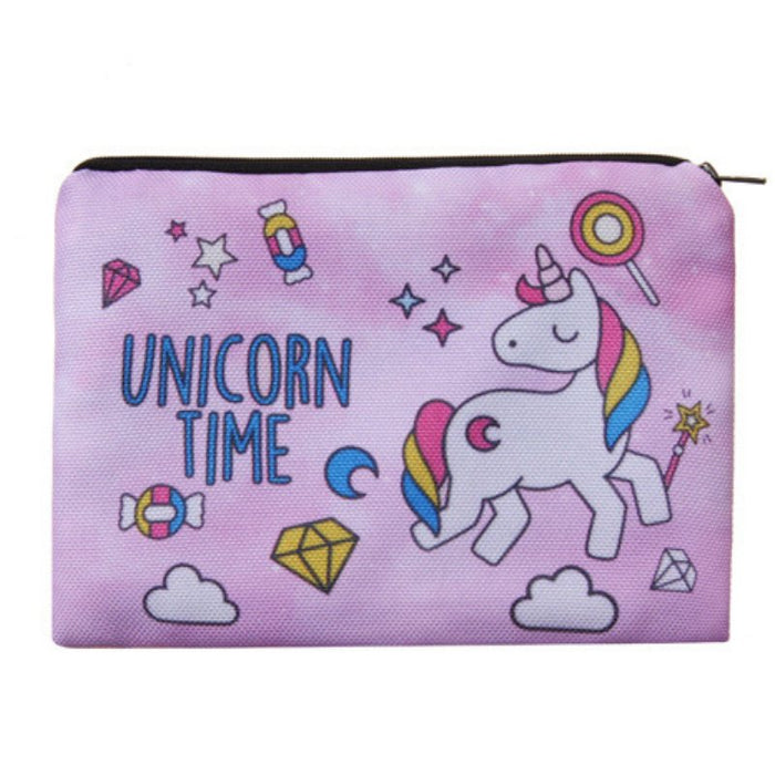Unicorn Time Full-Print cute MakeUp Bag With Sayings-Boots N Bags Heaven