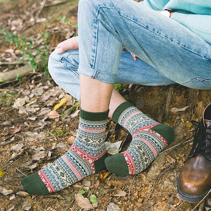 Cozy Striped Socks - Fuzzy Winter Wool Socks Set-Boots N Bags Heaven