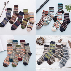 Cozy Striped Fuzzy Christmas Wool Socks Set - Cozy Striped Christmas Socks - Fuzzy Winter Wool Socks Set