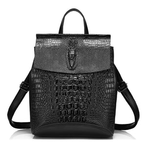 Crocodile Prints Leather Split Women Backpack - Crocodile Prints Leather Split Backpack