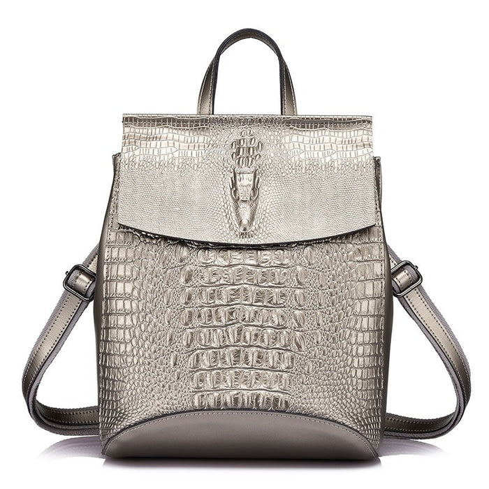 Crocodile Prints Leather Split Backpack-Boots N Bags Heaven