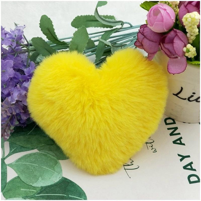 Cute Fluffy Fury Heart Keychain-Boots N Bags Heaven