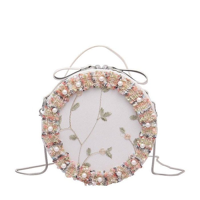 Dainty Floral Lace And Pearl Shoulder Bag - Dainty Floral Lace And Pearl Shoulder Bag