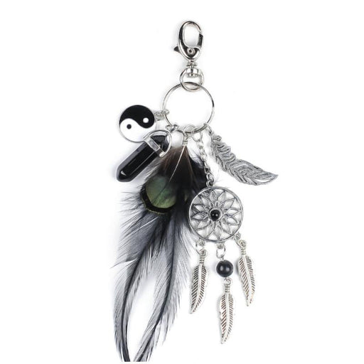Dream Catcher Feather Opal Key Chain-Boots N Bags Heaven