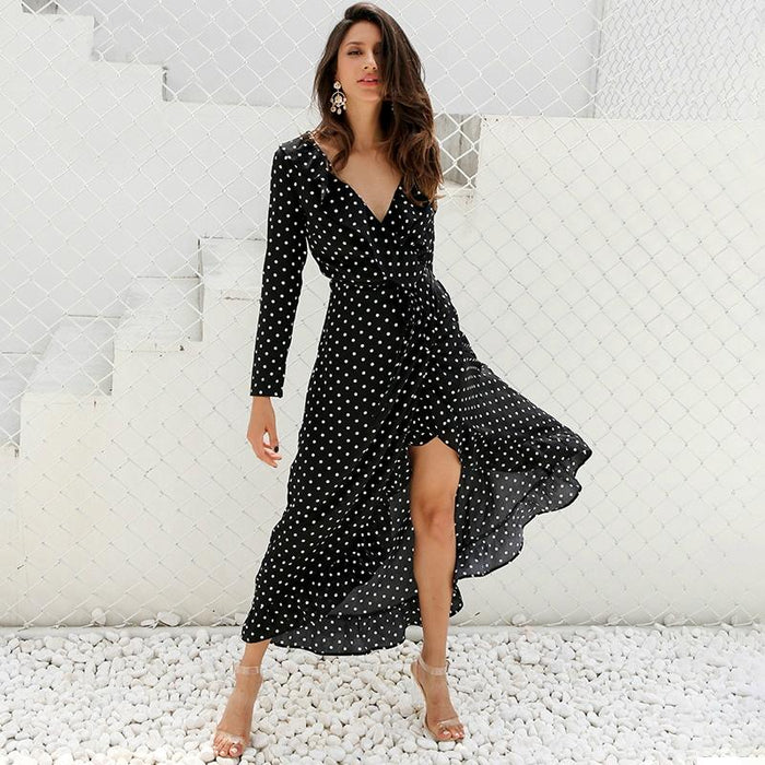 Polka Dot Ruffle Wrap Top Maxi Dress-Boots N Bags Heaven
