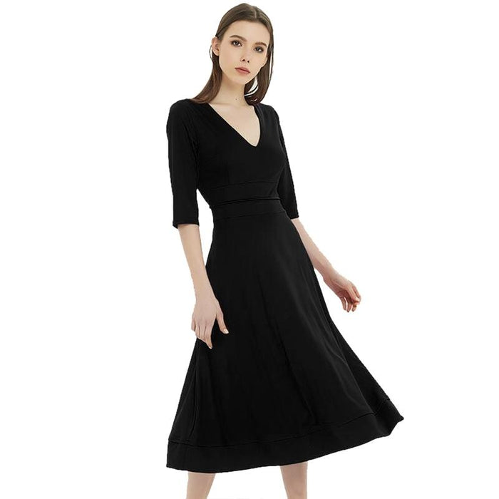 Aubrey - Simple and Elegant V-Neck Vintage Dress-Boots N Bags Heaven