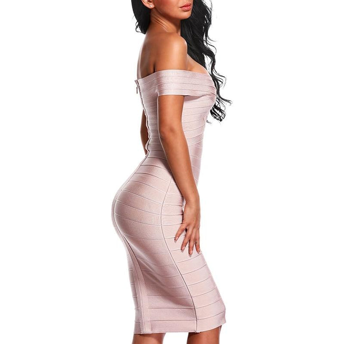 Talia - Sultry and Sexy Off Shoulder Bandage Body-con Dress-Boots N Bags Heaven
