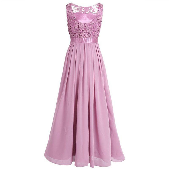 Belle -Dainty Pastel Colored Chiffon Gown with Lace-Boots N Bags Heaven