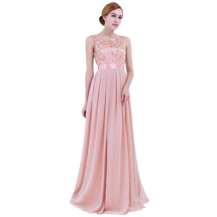 9e8d86fc3fc1d Belle -Dainty Pastel Colored Chiffon Gown with Lace