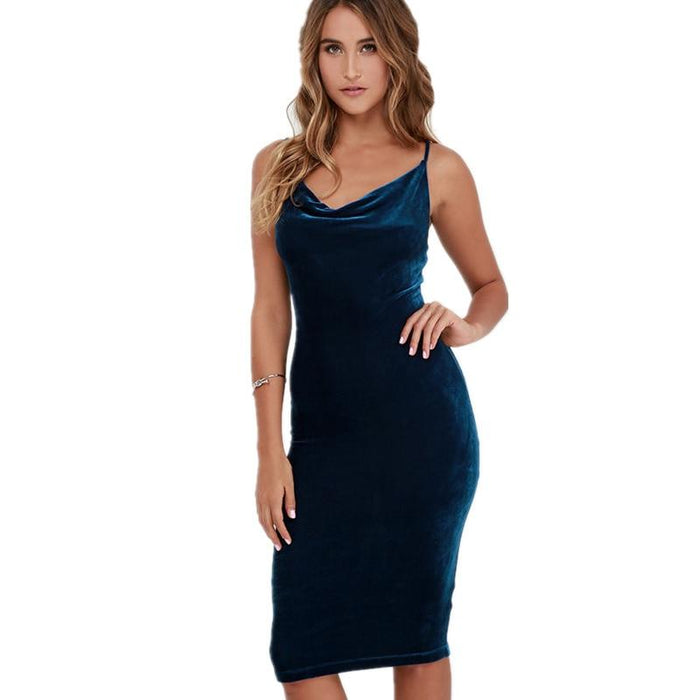 Dove - Sexy Velvet Backless Spaghetti Strap Body-con Dress-Boots N Bags Heaven