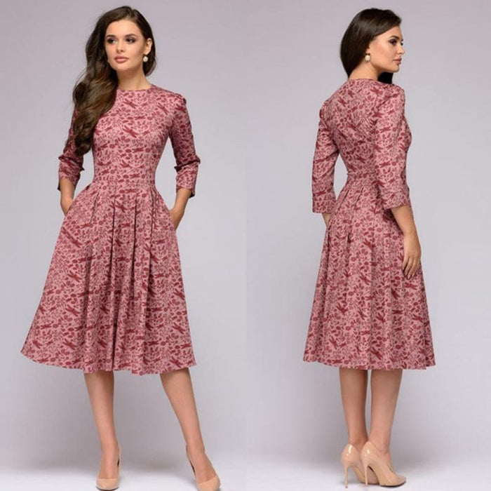 Stella - Elegant and Chic Quarter Sleeved A-Line Dress-Boots N Bags Heaven