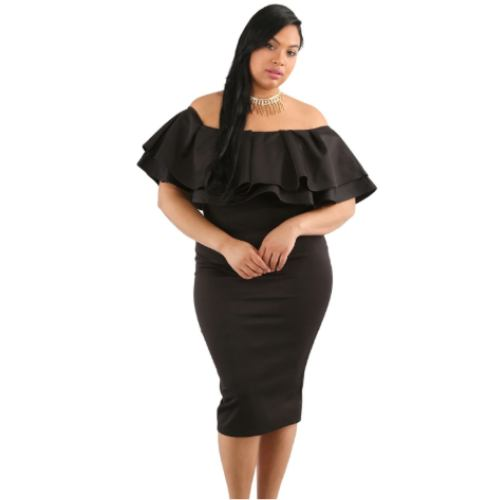 Lizzie - Plus Size Elegant Ruffled Off Shoulder Dress
