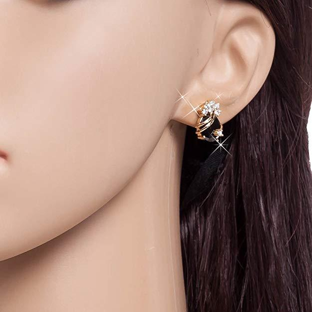 18K Gold Plated Cubic Zirconia Stud Earring-Boots N Bags Heaven
