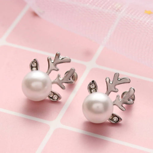 Reindeer Christmas Pearl Earrings-Boots N Bags Heaven
