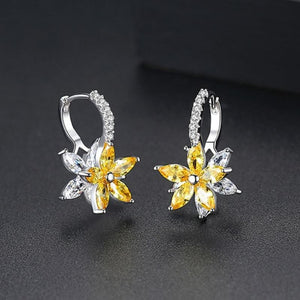 Earrings Jewelry Romantic Flower Cubic Zirconia Stud Earring - Romantic Flower Cubic Zirconia Stud Earring