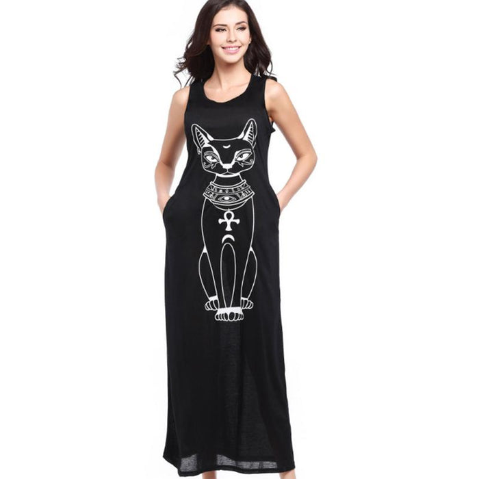 Nevaeh - Egyptian Sphinx Cat Boho Maxi Dress-Boots N Bags Heaven
