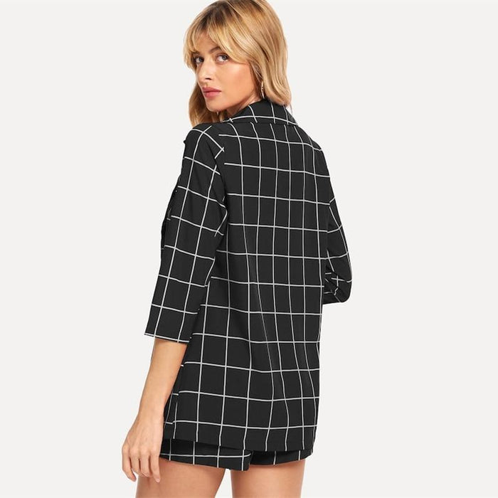 Elegant Checkered Blazers And Waist Shorts - Elegant Checkered Blazers And Waist Shorts