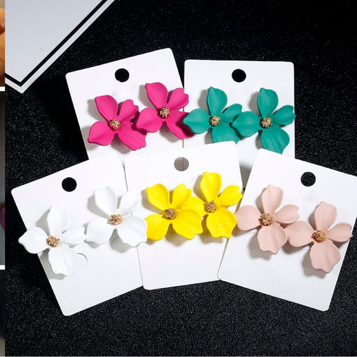 Fashion Cute Sweet Flower Stud Earrings-Boots N Bags Heaven