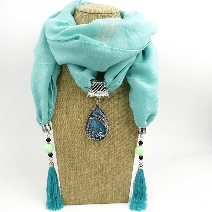 Fashion Vintage Bohemian Water Drop Peacock Pendant Scarves - Elegant Chiffon Scarf With Water Drop Peacock Pendant And Tassels