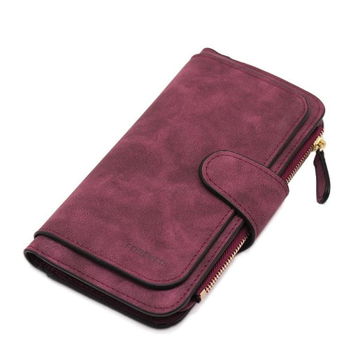 Faux Suede Chic Long Wallet-Boots N Bags Heaven