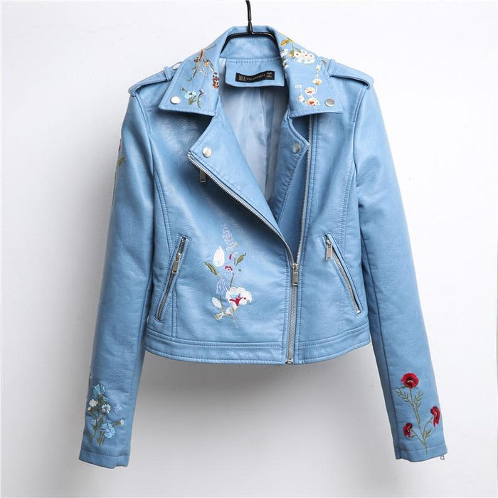Floral Embroidered Leather Jacket - Floral Embroidered Leather Jacket