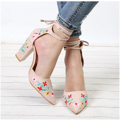 Floral Embroidery Pattern High Heels-Boots N Bags Heaven