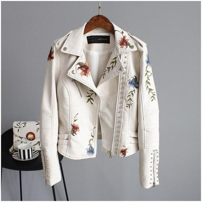 Margaret - Flower Embroidered Soft Faux Leather Jacket-Boots N Bags Heaven