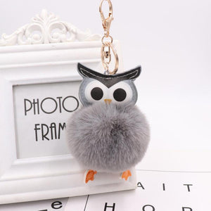 Fluffy Wisdom Owl Key Chain - Fluffy Pompom Wisdom Owl Key Chain