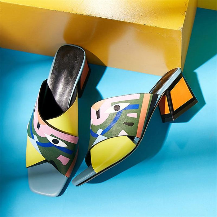Abstract and Sexy Peep Toe Slip On Sandals-Boots N Bags Heaven