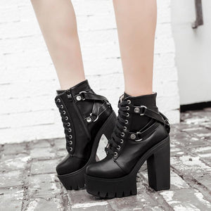 Footwear Black And Gothic Ankle High Platform Boots - Black And Gothic Ankle High Platform Boots